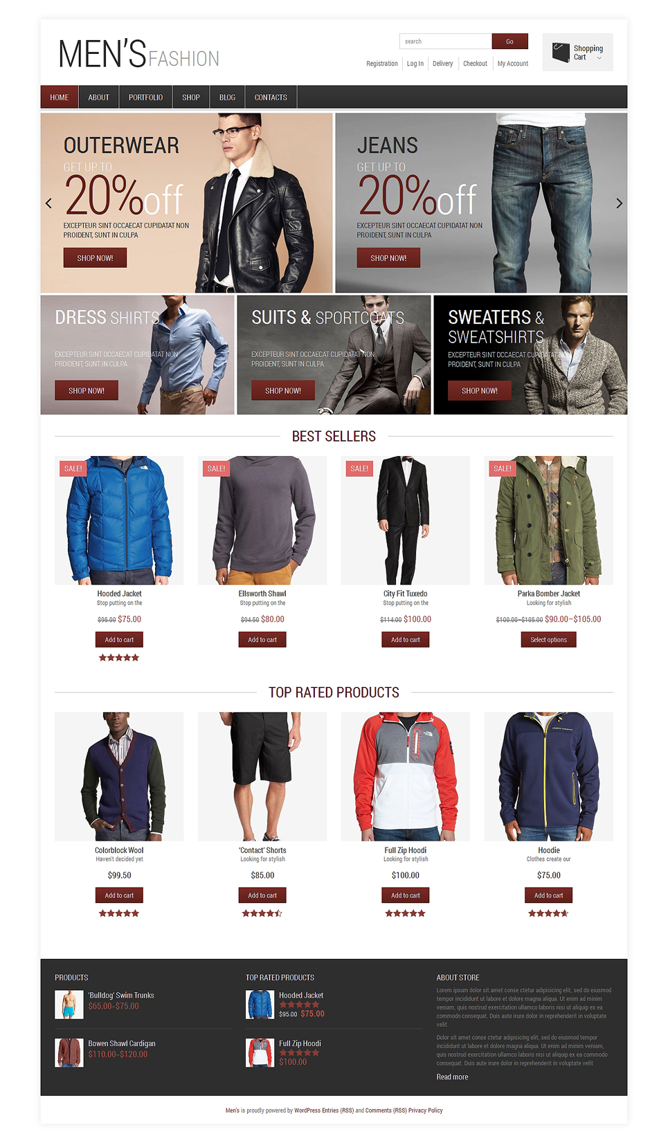 Fashion Shop for Handsome Men Jigoshop Theme TMT