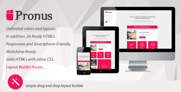 PRONUS - Flat Responsive Email With Layout Builder  TForest