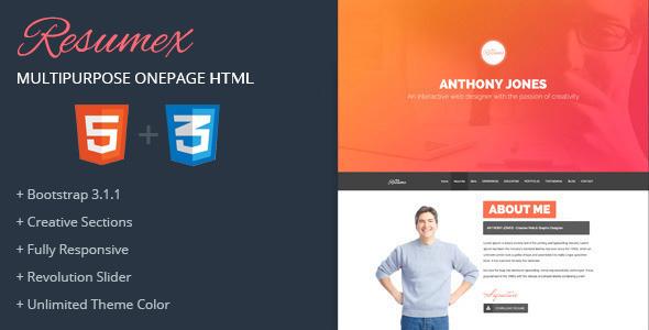 ResumeX Html - Multipurpose One Page Portfolio  TForest