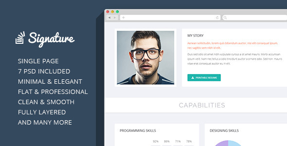 Signature - OnePage Personal Resume PSD Theme  TForest