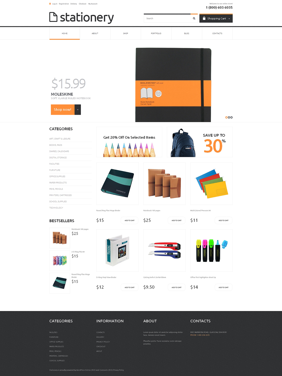 Stationery Responsive Jigoshop Theme TMT