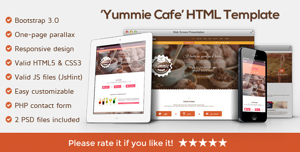 Yummie - One Page Animated Parallax HTML Template  TForest