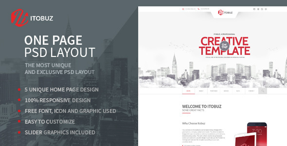 Itobuz One Page PSD Template  TForest PSDTemplates
