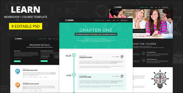LEARN - Course, Workshop, Seminar PSD template  TForest