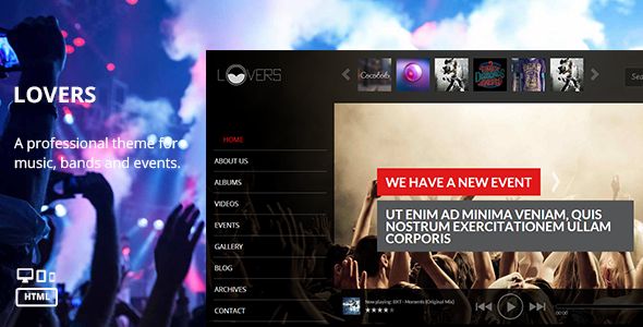 Lovers - Music HTML Template  TForest SiteTemplates