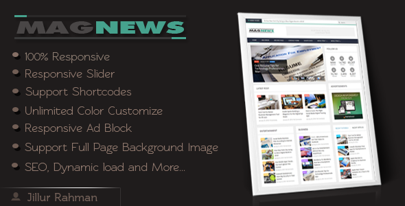 MagNews - Responsive Magazine Blogger Template  TForest