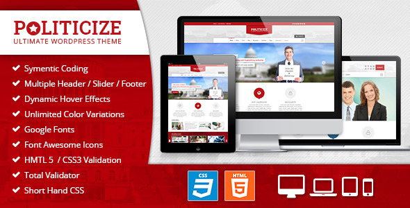 Politicize - Political Responsive HTML5 Template  TForest