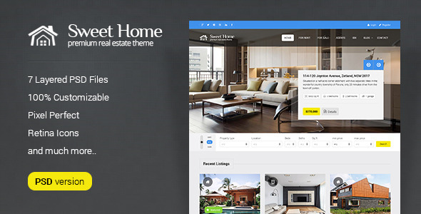 Sweet Home - Real Estate PSD Template  TForest