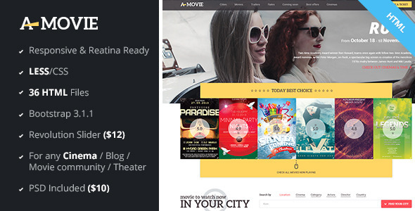 A.Movie - Cinema/Movie HTML LESS Template  TFx