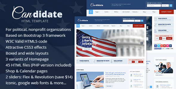 Candidate - Political/Nonprofit HTML Theme  TForest
