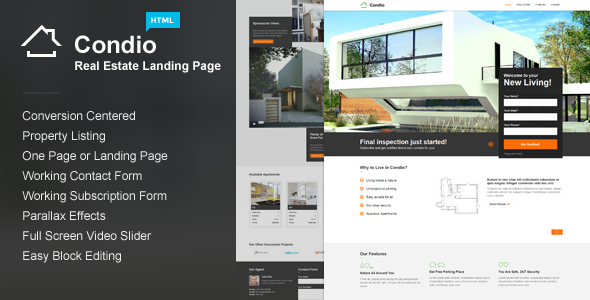Condio - Real Estate One Page & Landing Page HTML  TFx