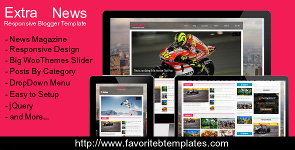 Extra News - Responsive Blogger Template  TFx
