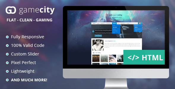 GameCIty - A Flat & Responsive Gaming Template  TFx