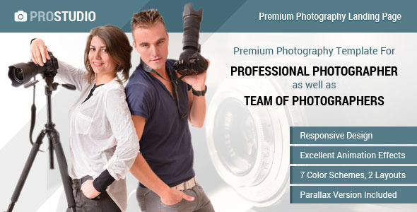 Professional Photography Responsive Landing Page  TFx