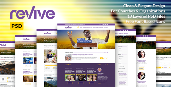 Revive: Church & Charity PSD Template  TFx