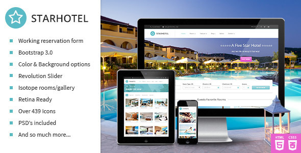 Starhotel - Responsive Hotel Booking Template  TFx