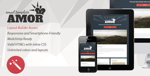 Amor v1.0 - Flat & Clean Responsive Email Template  TFx