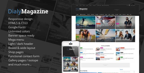 DialyMagazine - Clean & Flat Magazine HTML  TFx