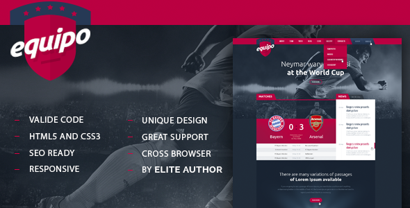 Equipo Responsive HTML Template  TFx SiteTemplates