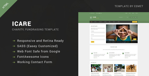 ICARE - Nonprofit, Fundraising HTML Template  TFx