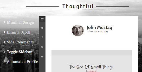 Thoughtful - Clean & Minimal Blogger Template  TFx