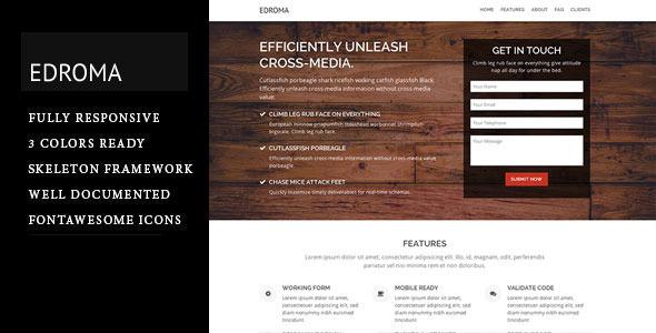 Edroma - One Page Landing Page  TFx LandingPages