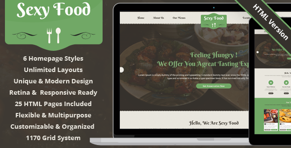 Sexy Food - Food & Restaurant HTML Template  TFx