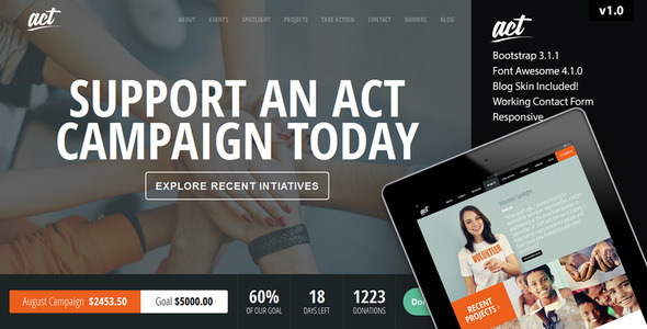 Act - Multipurpose Nonprofit Bootstrap Template  TFx