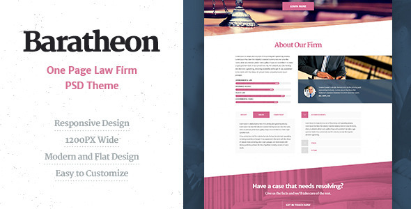 Baratheon - One Page Law Firm PSD Theme  TFx