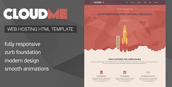 Cloud Me - Web Hosting, Responsive HTML Template  TFx