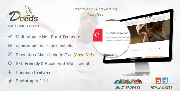 Deeds - Simple Nonprofit Church Website Template  TFx