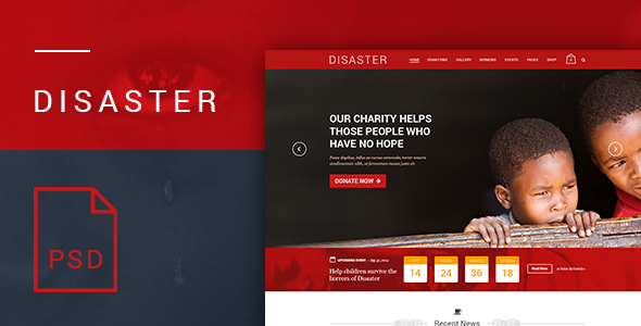 Disaster - Charity and Nonprofit PSD Template  TFx
