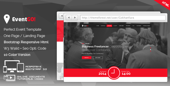 EventGo - Html Onepage Events Landing Page  TFx