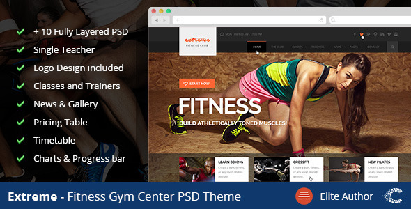 Extreme GYM Fitness Clean Template  TFx