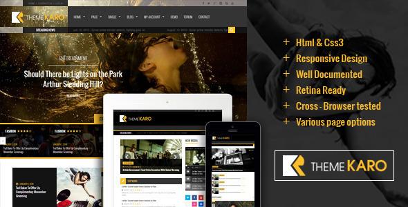 Karo Magazine HTML5 Template  TFx SiteTemplates