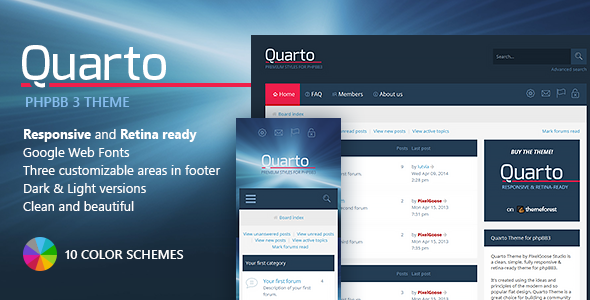 Quarto —phpBB3 Responsive & Retina Ready Theme  TFx
