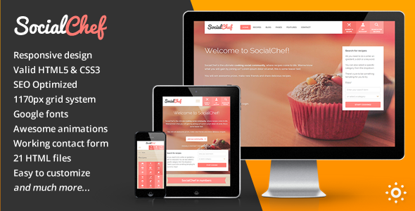SocialChef - Social Recipe HTML Template  TFx