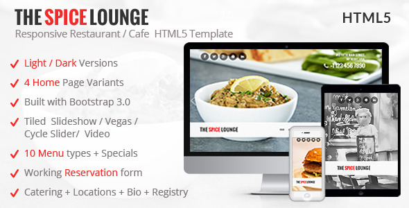 The Spice Lounge - Restaurant / Cafe HTML Template  TFx