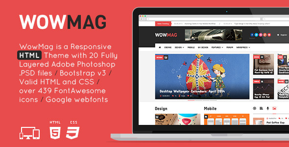 WowMag - HTML/CSS Responsive Magazine Theme  TFx