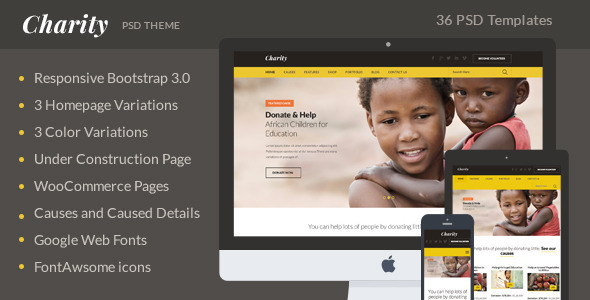 Charity PSD Theme  TFx PSDTemplates