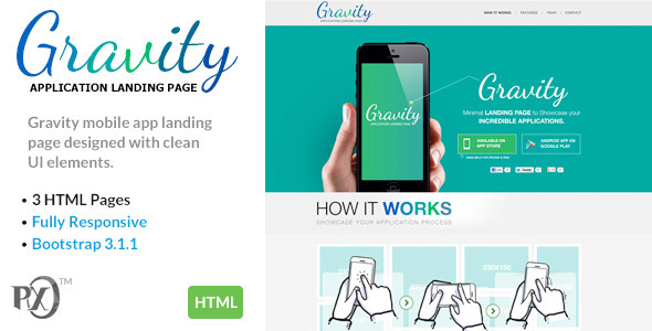 Gravity Mobile App Landing Page Responsive (HTML)  TFx