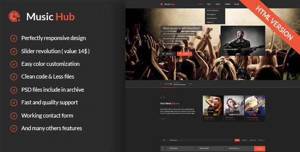 MusicHub - Responsive Music Template  TFx