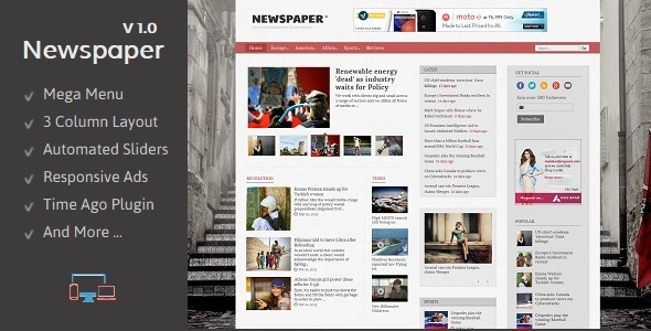 Newspaper - Responsive Blogger Template  TFx