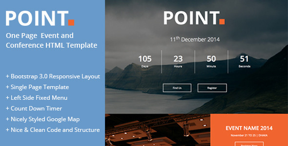 Point : One Page Event and Conference Template  TFx