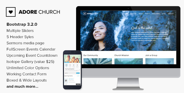 Adore Church - Responsive HTML5 Template  TFx