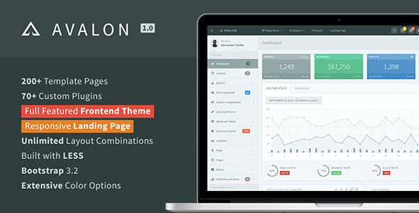 Avalon - Bootstrap Admin + Frontend + Landing  TFx
