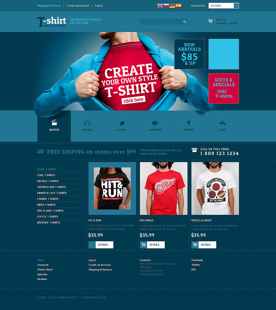 Creative TShirt Designs OsCommerce Template TMT