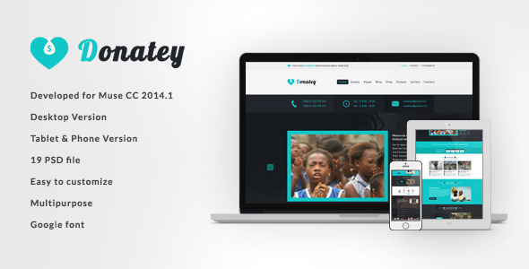 Donatey - Charity and Nonprofit Muse Template  TFx