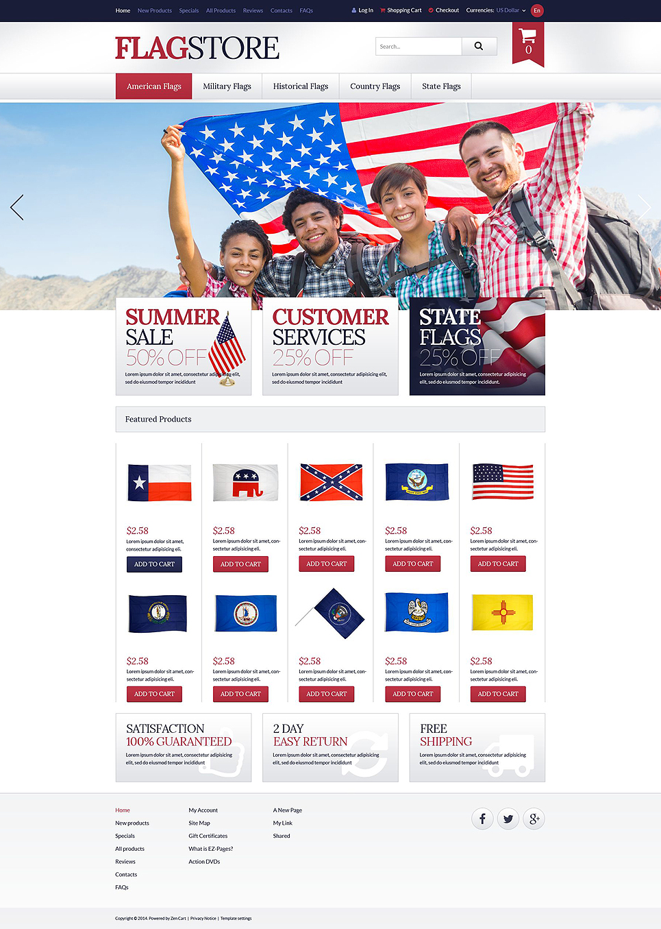 Flags Promotion ZenCart Template TMT
