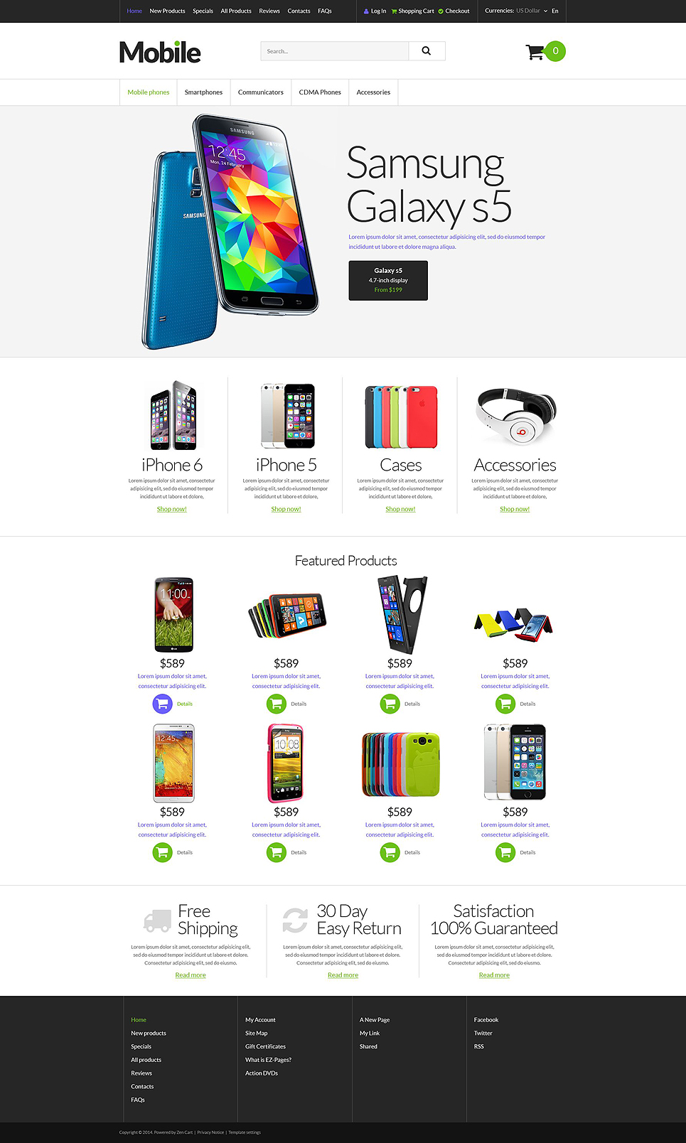Mobile Devices ZenCart Template TMT